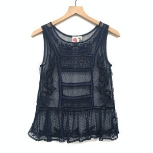 Anthro Lilka Blue Sheer Lace Tank Top - Size XS